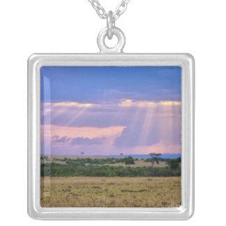 Sun setting on the Masai Mara. Square Pendant Necklace