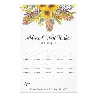 Sunflower Bridal Shower Advice Cards Flyer