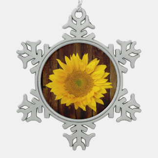 Sunflower on Vintage Barn Wood Country Pewter Snowflake Ornament