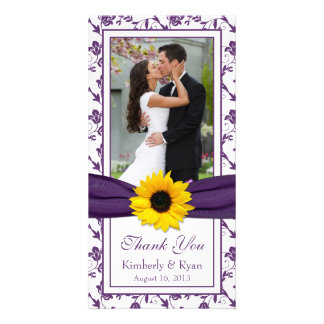 Sunflower Purple Floral Ribbon Wedding Thank You Customized Photo Card