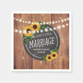 Sunflower Rustic String Lights Wedding Disposable Napkin