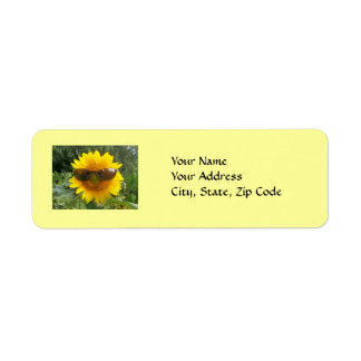 Sunflower with Sunglasses, address label