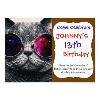 "sunglasses cat 5"" x 7"" invitation card"