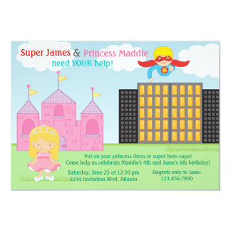 """Super Hero and Princess Twins Joint Birthday Party 5"""" X 7"""" Invitation Card"""