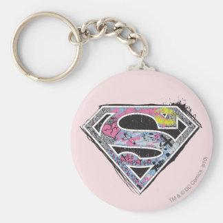 Supergirl Logo Collage Basic Round Button Keychain