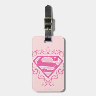 Supergirl Pink Stripes Bag Tags