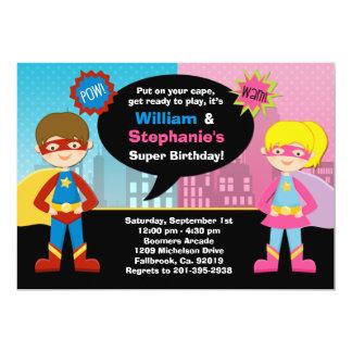 Superhero and Super Girl Birthday Party Invitation