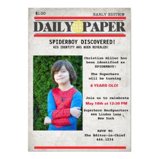 Superhero Newspaper Birthday Invitation