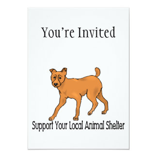 """Support Animal Shelters 5"""" X 7"""" Invitation Card"""