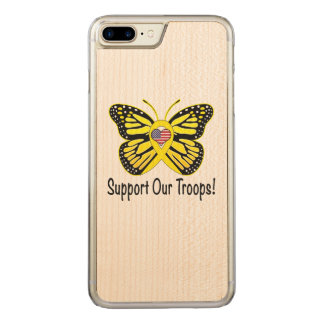 Support Our Troops with Butterfly Carved iPhone 7 Plus Case
