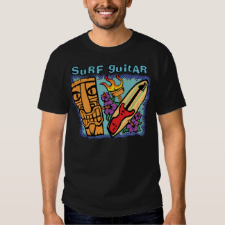 Surf Guitar: Tiki w/Torch and Hibiscus Tshirts