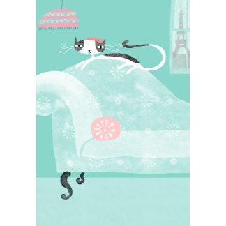 """French cat on sofa Poster Print"""