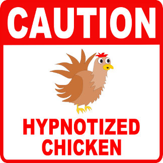 Caution Hypnotized Chicken Red Lettering