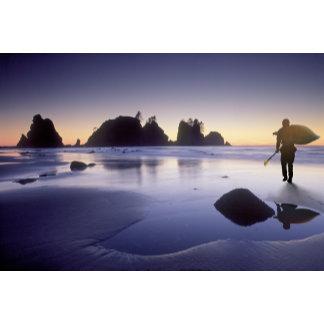 Montage of man carrying kayak, ShiShi Beach,