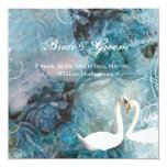"Swans vintage swirl teal pink 5.25"" square invitation card"