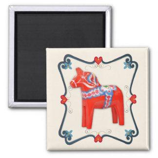 Swedish Dala Horse Folk Art Framed Square Magnet