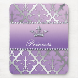 Sweet 16 Birthday Damask Baby Shower Crown Mouse Pad