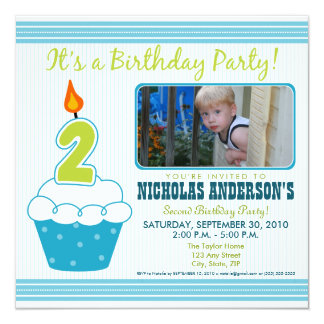 Sweet Cupcake 2nd Birthday Party Invitation Aqua