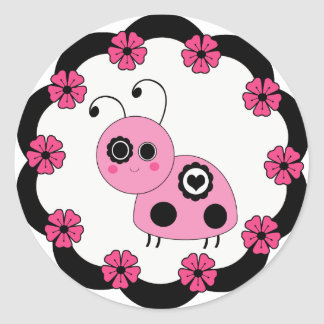 Sweet Pink Ladybug & Flowers Stickers