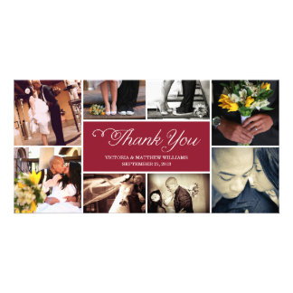 SWEET SCRIPT COLLAGE   WEDDING THANK YOU CARD PHOTO GREETING CARD