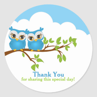 Sweet Twins Owls Boy Baby Thank You Sticker
