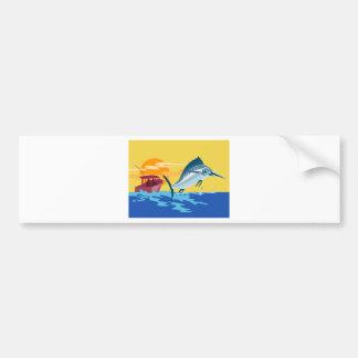 swordfish jumping with fishing boat bumper sticker