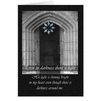 Sympathy card with Priory stained glass