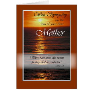 Sympathy Loss of Mother, Sunset Over Ocean, Relig Greeting Card