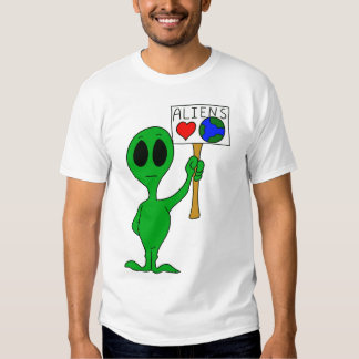 T-shirt de la terre d'amour d'aliens