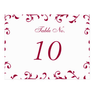 Table Number Card, White Transparent Template Postcard