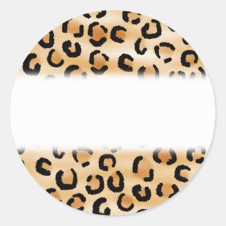 Tan, Black and Brown Leopard Print Pattern. Round Sticker