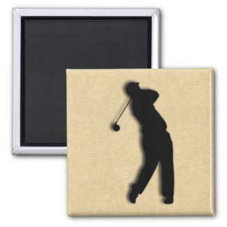 Tan Leather Golf Square Magnet