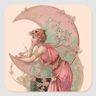 TAROTS/ LADY OF THE MOON WITH FLOWERS IN PINK SQUARE STICKER