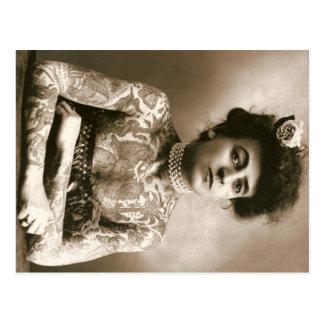 Tattooed Lady w/ Pearls Postcard Vintage Circus