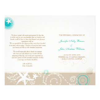 Taupe Ivory Teal Beach Wedding Programs (BiFold) Custom Flyer