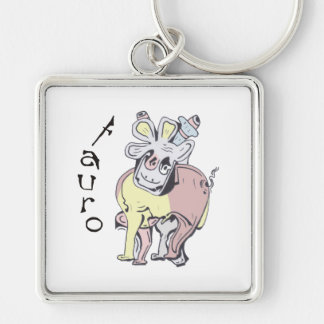 Taurus Silver-Colored Square Keychain
