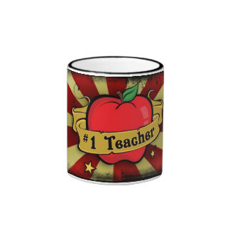 Teacher Number One Apple & Beams Tattoo Mug