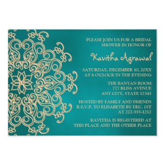 """Teal and Gold Indian Inspired Bridal Shower 5"""" X 7"""" Invitation Card"""