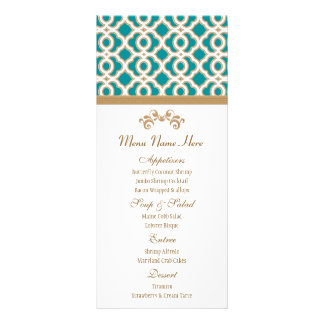 Teal and Gold Moroccan Menu Rack Cards