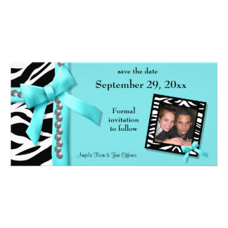 Teal And White Zebra Gems Save The Date Card Picture Card