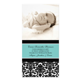 Teal Black Thank You Baby Shower Photo Cards