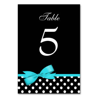 Teal Blue and Black Polka Dots Bow Table Cards