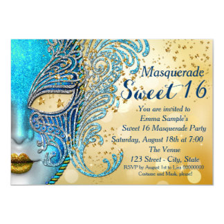 """Teal Blue and Gold Sweet 16 Masquerade Party 4.5"""" X 6.25"""" Invitation Card"""