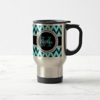 Teal Glitter Chevrons Monogrammed Travel Mug
