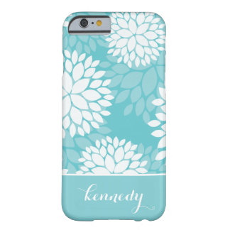Teal Mint Floral Pattern Monogram Name Barely There iPhone 6 Case