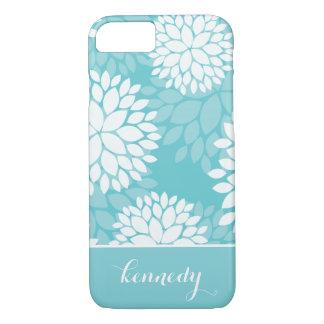 Teal Mint Floral Pattern Monogram Name iPhone 7 Case