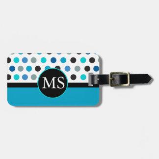 Teal Polka Dots Stripes Monogram Travel Bag Tag