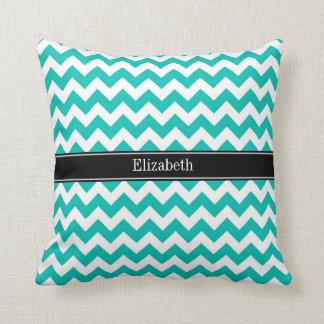Teal White Chevron ZigZag Black Name Monogram Pillows
