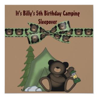"Teddy Bear Birthday Camp Sleepover 5.25"" Square Invitation Card"