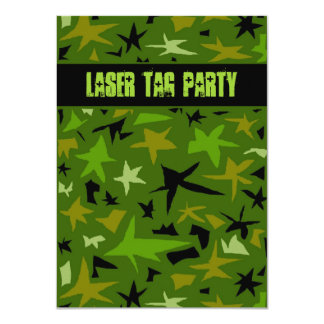 "Teen Boys Birthday Camo Stars Party 4.5"" X 6.25"" Invitation Card"